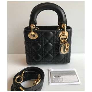 Authentic Lady Dior Mini Black Ghw
