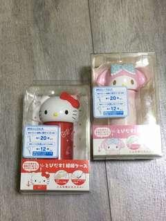 🚚 日本正版 kitty 美樂蒂 棉花棒收納罐