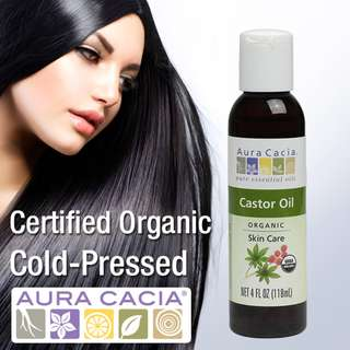 🚚 Aura Cacia Organic Castor Oil for Hair, Cold-Pressed