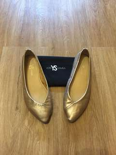 Yosi Samra rose gold (metallic pink) pointed flats