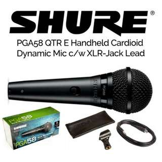 SHURE PGA58-QTR (有開關制,有跟線) Cardioid Dynamic Vocal Microphone (With 4.5M Cord And On/Off Switch) 動圈有線演出話筒,合舞台/家用 麥克風 💗 全新行貨,保用一年,市區地鐵交收