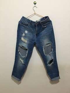 🚚 日貨 日本品牌 牛仔褲 刷破 男友褲