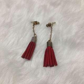 Red Maroon Tassel Tassle Earrings