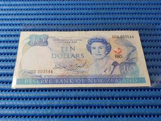 1990 New Zealand $10 Ten Dollars Commemorative Note DDD 003544 Dollar Banknote Currency Commemorating The Signing of the Treaty of Waitangi 1840