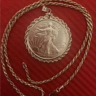 1 Ounce coin(99.9%silver)+ 1 Ounce coin pendant+ Pendant chain