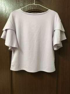 GU紫色造型袖上衣(S)