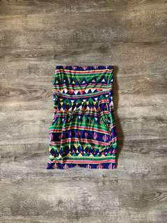 Fab Stretchy Aztec Print Tube Dress