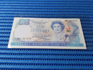 1990 New Zealand $10 Ten Dollars Commemorative Note MBL 027272 Dollar Banknote Currency Commemorating The Signing of the Treaty of Waitangi 1840