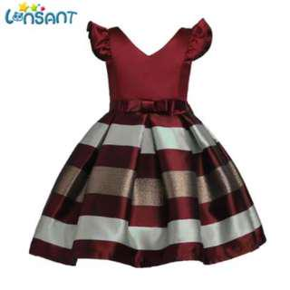 Fashion Girls dress kids baby girl clothes Striped wedding Girl princess dress girl children party dresses