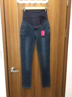 🚚 🆕 Mamaway 窄管針織孕婦牛仔褲 XS