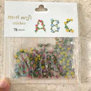 Floral alphabet stickers, 78pcs