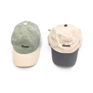 Hat ::: 休閒復古感草寫刺繡字母拼色棒球帽✨可調式
