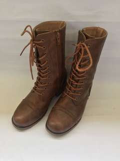 Preloved Brown Combat Boots For Women