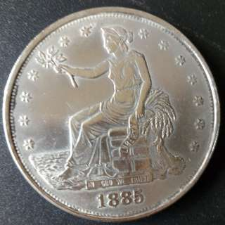 USA Seated Liberty 1885CC Silver Coin 37.5mm 26.5gm
