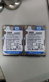 "2x WD 2.5"" 寸 手提電腦 laptop 500gb sata hard disk 硬碟"
