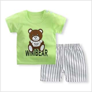 Green Bear Short-Sleeved Suit Cotton Children - Min Qty 3