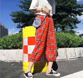 [PREORDER] Ulzzang retro plaid/checkered/tartan pj pants