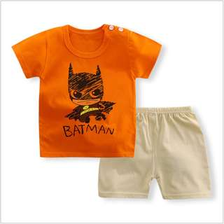 Orange Batman Short-Sleeved Suit Cotton Children - Min Qty 3