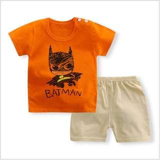 Orange Batman Short-Sleeved Suit Cotton Children - Min Qty 3