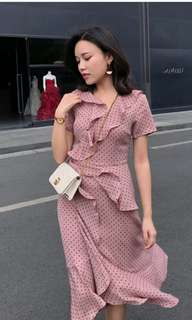 New! Plus Size Pink Polka Dots Dress with Ruffles