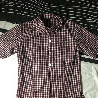 CHECKERED SHORTSLEEVES POLO SHIRT TOP FITS S-M