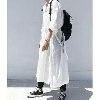 🚚 UNIQLO 棉麻亞麻長板襯衫2way罩衫洋裝