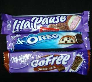 Milka milk chocolate variant oreo, lila pause, wafer made in turkey