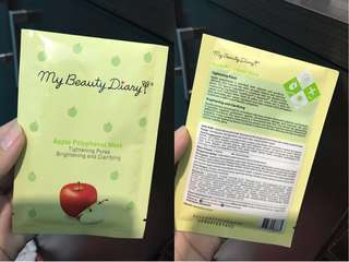 NEW - ORIGINAL MY BEAUTY DIARY FACE MASK APPLE POLYPHENOL MASK BRIGHTENING AND CLARIFYING TIGHTENING PORES Exp. 2020