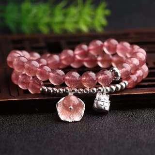 天然8mm草莓晶手鏈 配s925銀純銀配飾