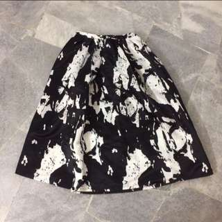 Black & White Splash Midi Skirt