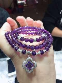 天然6mm紫水晶手鏈 925銀四葉草吊墜