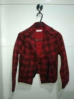 Authentic Topshop red plaid check tartan motorcycle jacket