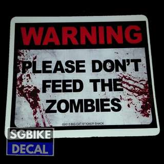 Warning Zombie Decal