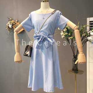 TC2460 Korea Ribbon Belted Dress (Blue,Beige,Black)