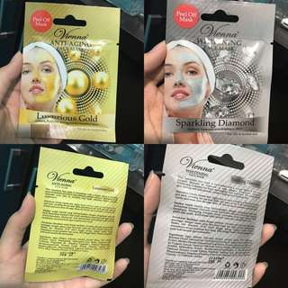 NEW - ORIGINAL VIEANNA ANTI AGING FACEMASK GOLD AND SPARKLING DIAMOND WHITENING FACEMASK