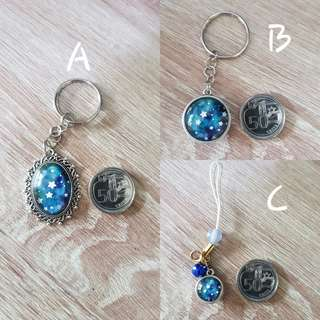 Crafted starry keychains
