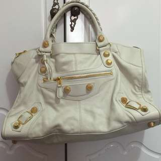 BALENCIAGA White Chevre Leather Giant 21 Gold Work Bag