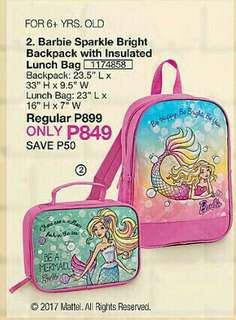 Barbie Sparkle Bright Backpack with Insulated Lunch Bag