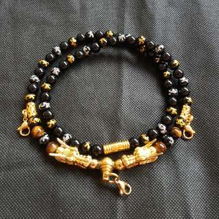 Nice Quality Tiger Eye, Black Onyx & Black Shiny Agate Silver & Golden Dragon Beads with 2 Gold Plated Dragon Heads 3 Hooks Necklace ( 1 piece on hand )