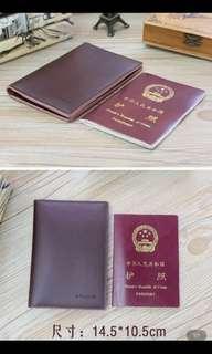 二層牛皮証件!護照!可插卡套