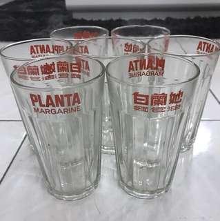 [ORIGINAL] 1980s Planta Margarine Drinking Glass (Set of 7)