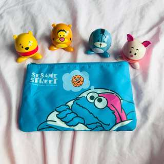 Pooh and Friends collectables with Cookie Monster Pouch
