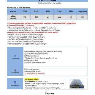 5D4N Korea Private Land Tour Package