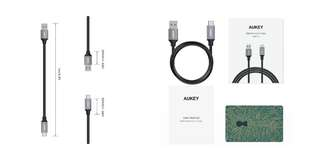 Aukey CB-CD2 1m USB 3.0 Braided Nylon A to C Cable - Grey