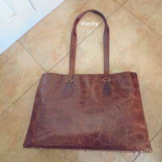 AUTHENTIC FURLA LARGE CROC EMBOSSED LEATHER SHOULDER TOTE BAG