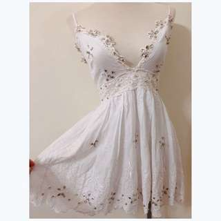 ❀☪︎ ᴋᴏʀᴇᴀ 正韓貨  浪漫女神風  ᴠ 領細肩鑽珠洋裝