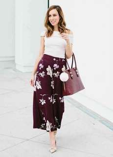 White Off shoulder top red floral Pants terno