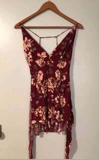 Maroon floral size small romper