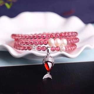 天然淡水珍珠5mm草莓晶手鏈 配925銀吊墜
