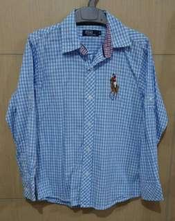 Kemeja Anak Kotak Biru Lengan Panjang Polo Size 6